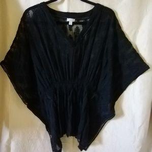 Tristan black silk Tunic blouse XS S M L